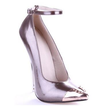 16cm super high heel pointed toe pumps for women Fashion metal decoration thin heel ankle strap shoes High heels Ladies' shoes fashion ladies shoes 2018 sexy bow thin heel 16cm high heel office shoes peep toe high heel women s pumps shoes size 34 40 yma90