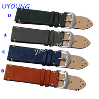 UYOUNG Watchband High Quality Scrub Genuine Leather Watch Band 18mm 20mm 22mm Blue Orange For Mens