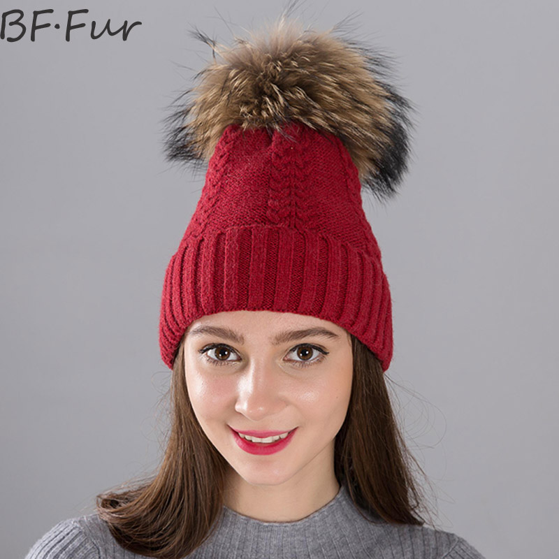 BFFUR Real Raccoon Fur Beanies Hats Women Winter Warm Thick Knitted Wool Caps For Girls Animal Natural Solid Pompom Ball Bonnet 2016 new beautiful colorful ball warm winter beanies women caps casual sweet knitted hats for women outdoor travel free shipping