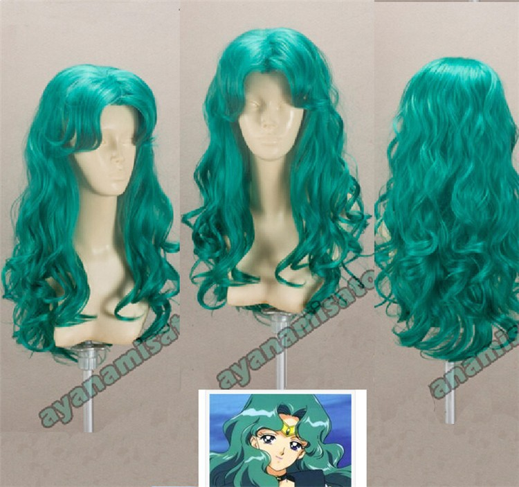 Image 3 - Sailor Moon Kaiou Michiru Wigs Sailor Neptune Long Green Curly Heat Resistant Synthetic Hair Cosplay Costume Wig + Wig Cap-in Anime Costumes from Novelty & Special Use