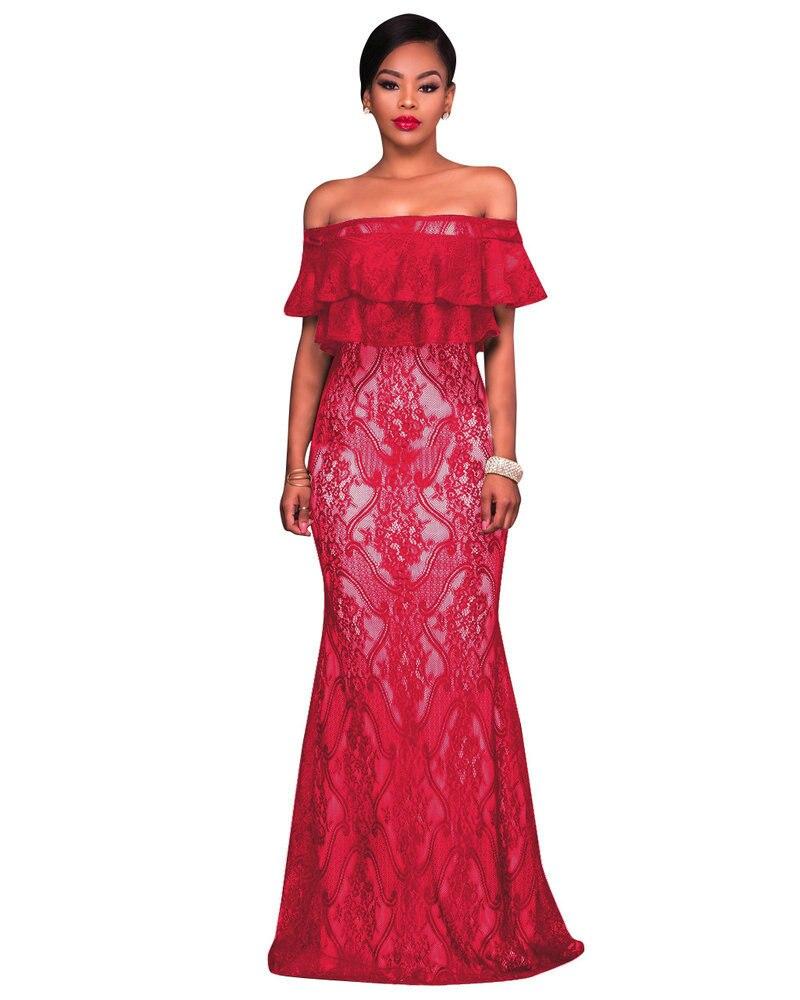 Elegance Lace Evening wear Women 2017 New Slash Neck Backless ...