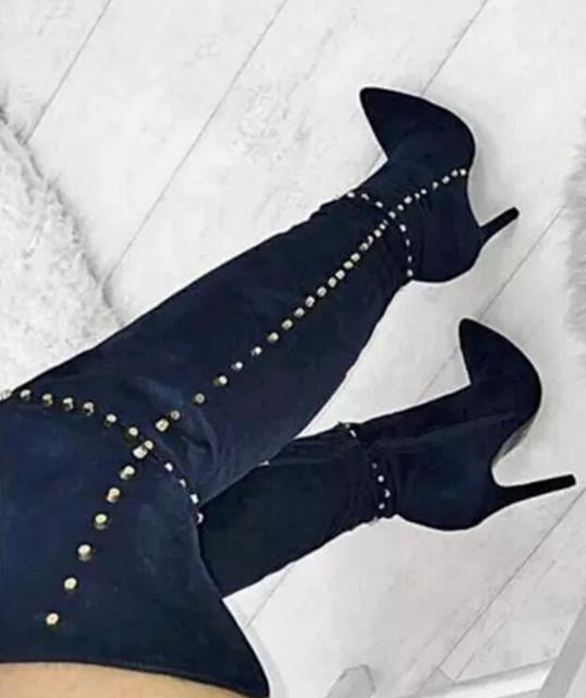 50ae02bc43c Fashion Blue Suede Leather Women Over The Knee Boots Gold Studs Ladies High  Heel Boots Sexy