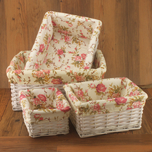 Storage wicker rattan baskets Willow Sweet Rose Flora White Wicker Baskets Decorative for Home Neatening