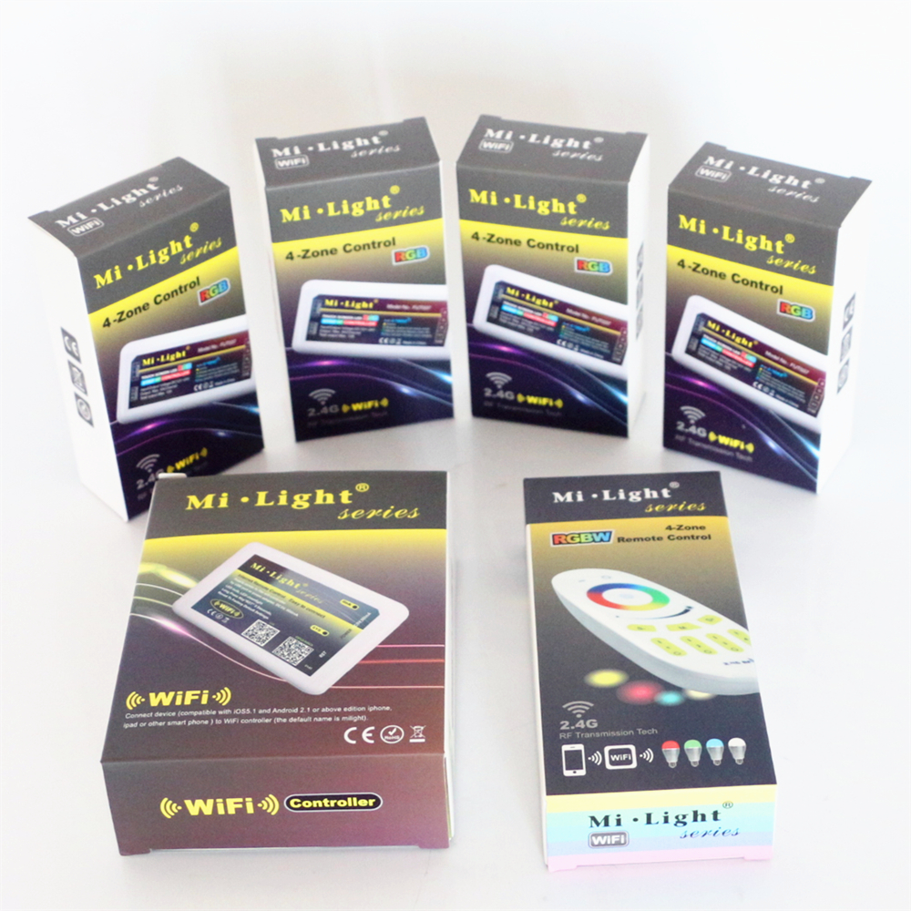 Mi Light DC12V 24V 2.4G Wireless RF RGB Led Remote + 4Pcs 3 Way Channel 4 Zones 18A Controller + 1Pcs 5V WiFi Controller Box - 2