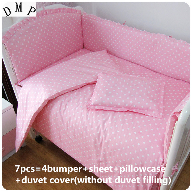 Promotion! 6/7PCS Pink 100% cotton crib bedding Set/bumper/crib skirt/dust ruffle cot bedding set baby set ,120*60/120*70cm promotion 6 7pcs cot bedding set baby bedding set bumpers fitted sheet baby blanket 120 60 120 70cm