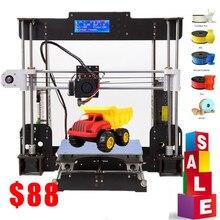 Impressora 3d a8 drucker 3d prusa i3 reprap heatbed 220*220*240mm impressão de currículo de falha de energia impressora 3d