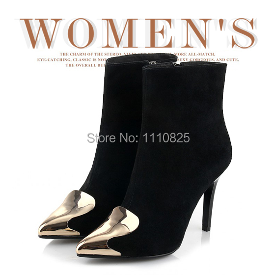 ФОТО Free shipping autumn and winter fashion leather shoes, sexy Stiletto Metal decoration Women Ankle boots