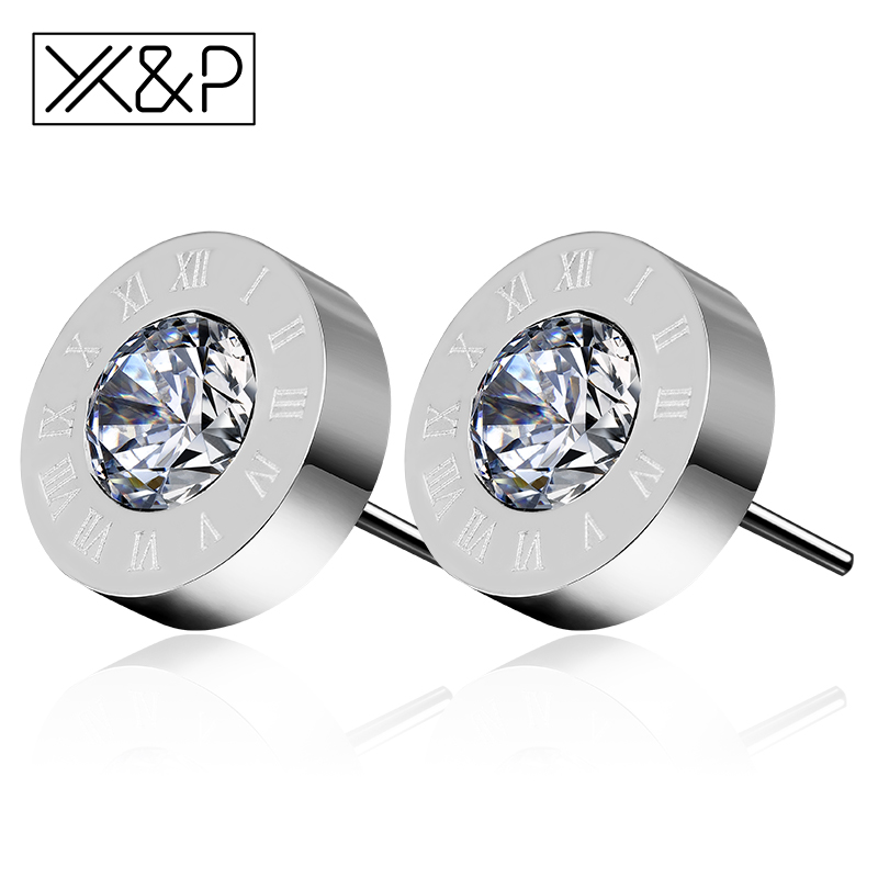 X&P Fashion Luxury Rose Gold Silver Zirconia Roman Numeral Stud Earrings for Women Men Round Stainless Steel Earring Jewelry