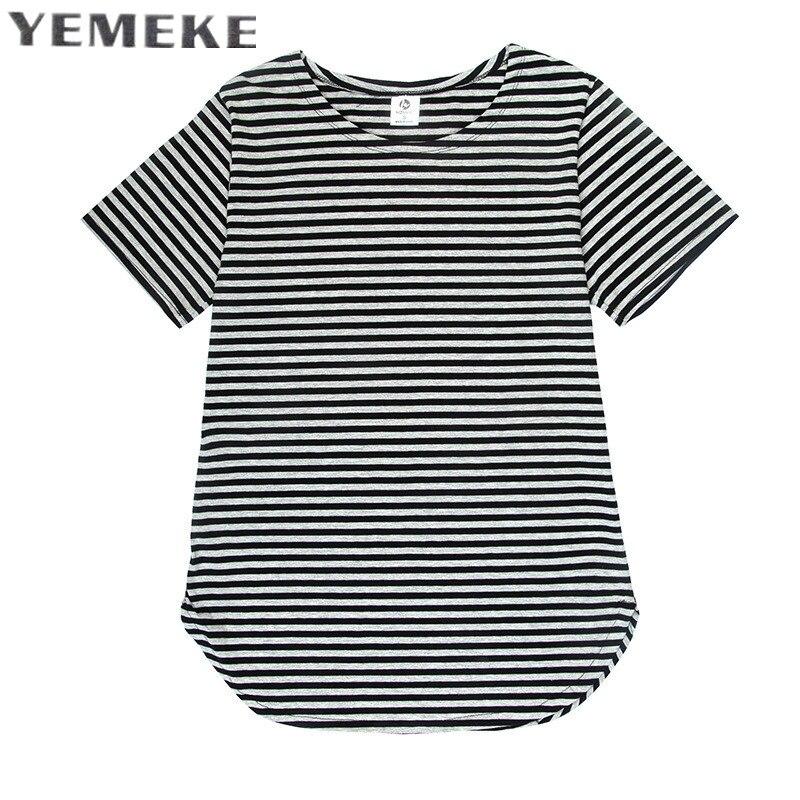 YEMEKE 2017 NEW fashion loose striped T-shirts Men Casual Fashion street wear hip hop high quality great new design tshirts