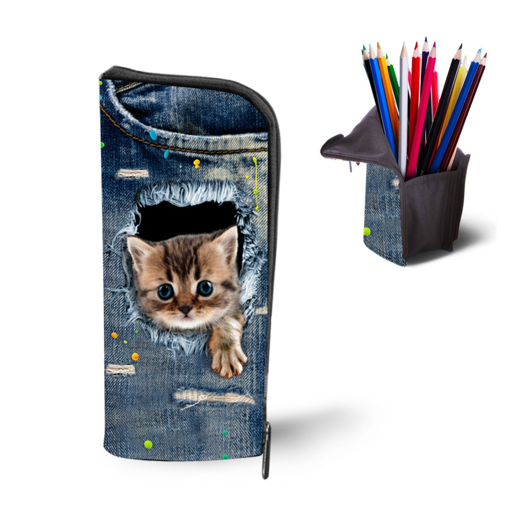 Kawaii Women Makeup Bags Travel Cosmetic Cases Cat Print Pencil Bag Large Capacity Pouch Pen Holder Stationery School Supplies