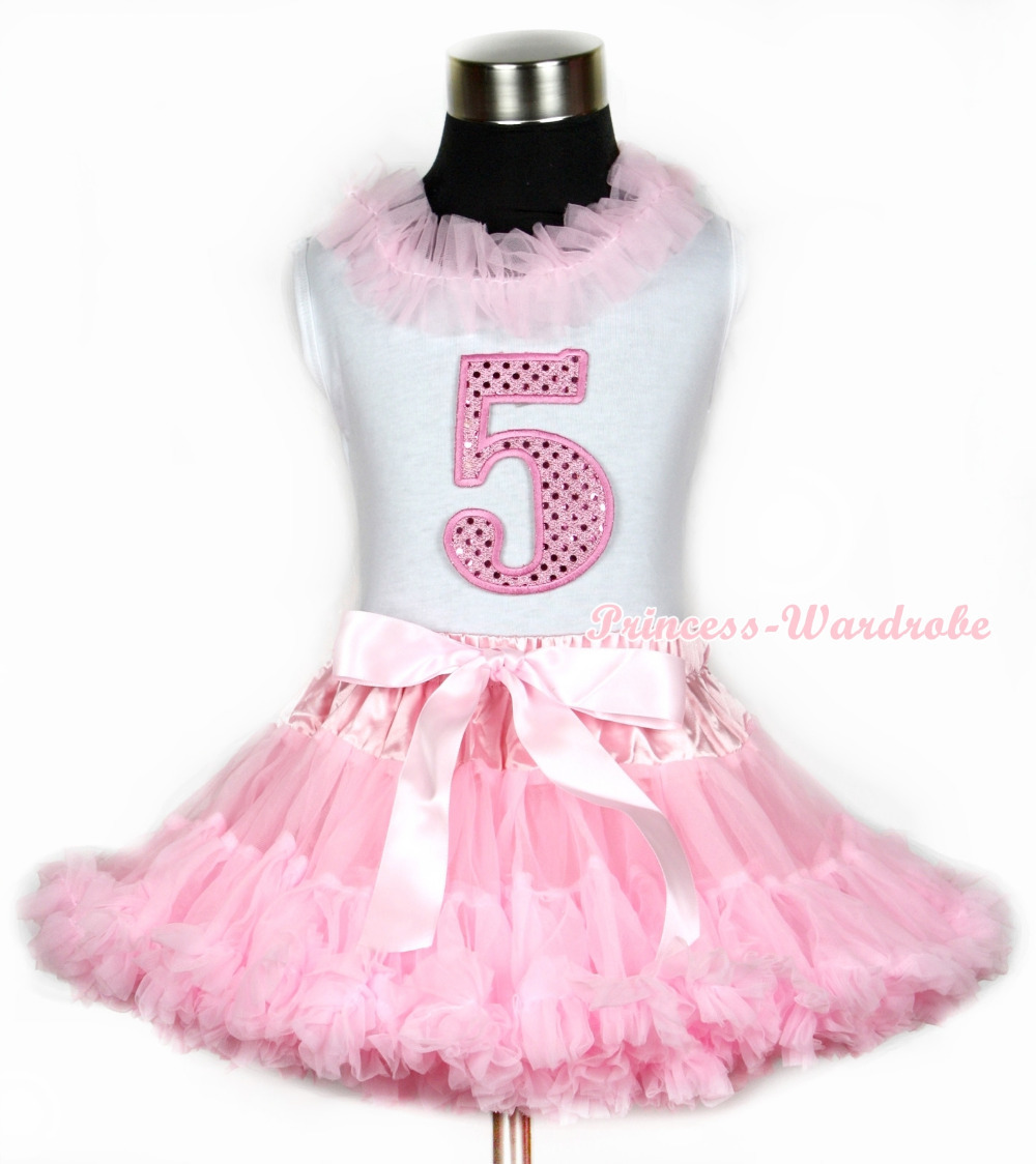 Halloween White Tank Top With Light Pink Chiffon Lacing & 5th Sparkle Pink Birthday Number Print With Pink Pettiskirt MAMG671 xmas white tank top 6th sparkle red birthday number print red snowflakes ruffles