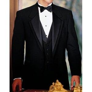 Image 3 - 黒新郎タキシード結婚式のための 3 ピース喫煙正式な男性のスーツスリムフィットメンズスーツセットジャケットパンツとベストファッション衣装
