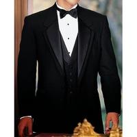 Black Wedding Groom Tuxedos for Smoking Man Suit 3 Piece Mens Suits Set Jacket Pants Vest Male Costumes