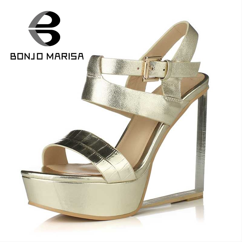 BONJOMARISA Crystal High Wedge Heel Sandals Ankle Strap Open Toe Platform Shoes For Summer Woman Party Wedding Footwear ankle strap wedge heel shoes for women comfort open toe shoes girls sandals 2016 new summer