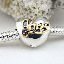 Fits Bracelet Charms Beads for Jewelry Making Heart of Love Clip Beads Charm with 14K Gold 925 Sterling-Silver-Jewelry for Women недорого
