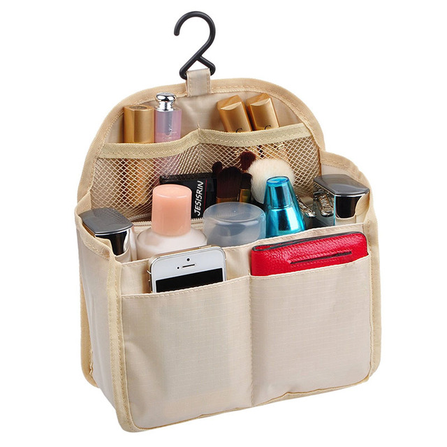 Oxford Cloth Insert Storage Bag Travel Large Handbag Organizer Hanging Backpack In