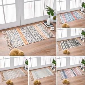 Retro Bohemian Hand Woven Cotton Linen Carpet Rug Bedside Rug Geometric Floor Mat Living Room Bedroom Carpet Home Decor