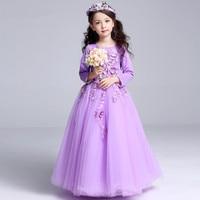Lestest Eropean Long Style Girls Dresses Fancy Faries Princess Vestidos 2016 Children Clothes For Girls 4