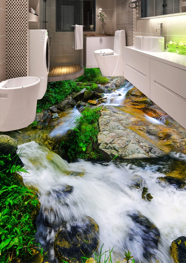 ФОТО 3 d pvc flooring custom self adhesion 3d River stone streams 3d bathroom flooring painting photo wallpaper for walls 3d