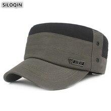 SILOQIN Adjustable Head Size Mens Army Military Hats Flat Cap 100% Cotton Stitching Retro Hip Hop Caps Fashion Vintage Dad Hat
