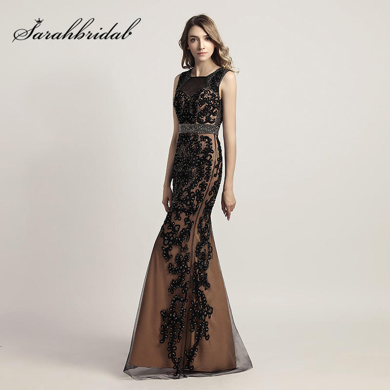 Elegant Black Formal Evening Dresses With Lace Appliques Tulle Beading Open Back Mermaid Women Prom Long Party Dress  LX463