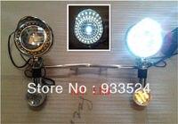 Set Motorcycle White LED Angel Eye Spot Lights With Amber LED Turn Signal Lights Steel Bar For Suzuki Yamaha