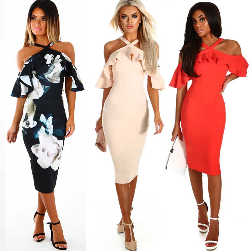 cba4ace766fc New Off Shoulder Ruffles Floral Casual Women Dress Summer 2019 Sexy Bodycon  Dress Ladies Party Knee