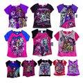 Meninas Camisa Nova Alta Monstro Meninas Do Bebê T-shirt de Manga Curta crianças Top Tee Roupas Crianças Monstro Do Hight T Shirt do Verão estilo