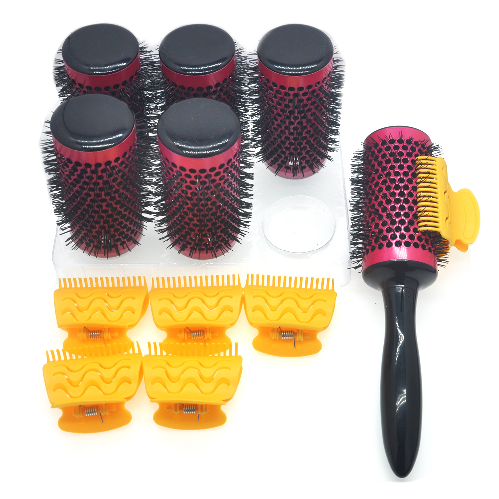 6pcs/set Hair Roller Brushes With Butterfly Clips Detachable Handle Thermal Hairbrush Aluminum Barrel Comb Hairdresser 54mm 1296