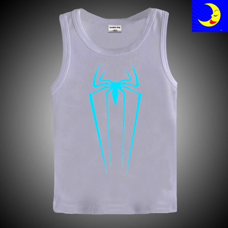 Hip Hop TShirt New Design Kids Sleeveless Tees Neon Print Shine Children Boys Girls T Shirt Darkness Luminous Clothing T-Shirts