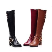 Новая зимняя женская обувь высокие сапоги до колена круглый носок, большой размер, средний квадратный каблук, молния, пряжка, короткая плюшевая теплая внутри, модная