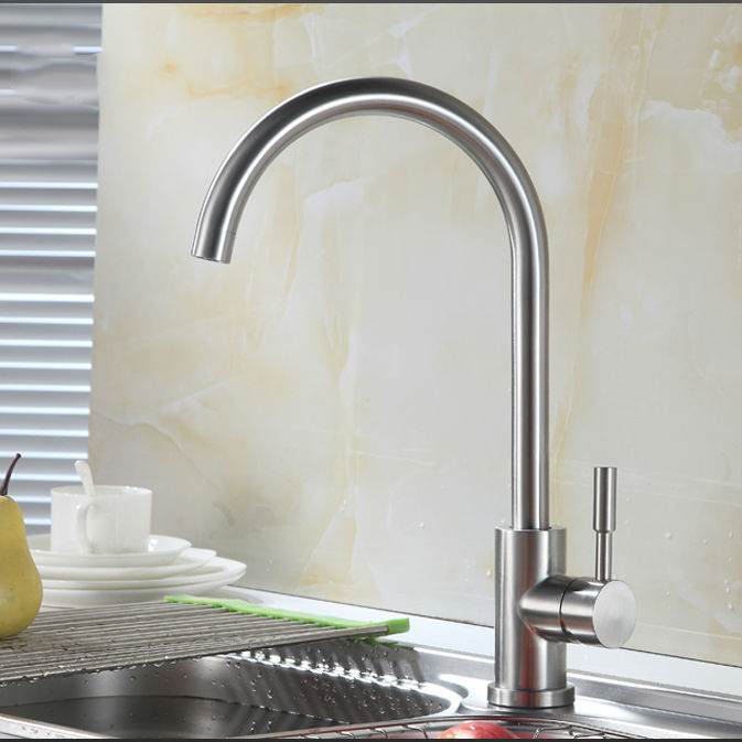 NEW Stainless Steel Kitchen faucet Hot and Cold Mixer Kitchen Tap with Aerator Brushed Nickel biger