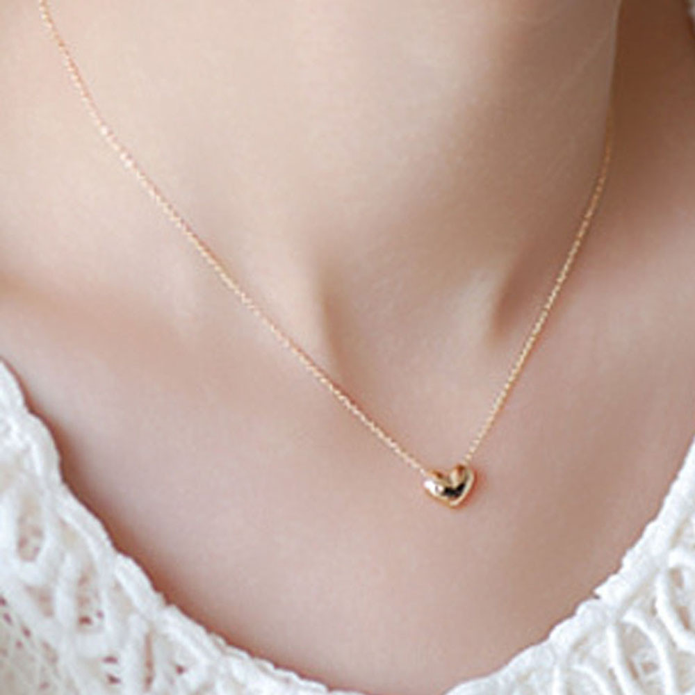 Fashion Jewelry Pendant Choker Romantic Clavicle Chain Gold Necklace Heart Shape Love Necklace Beauty Women's accessories 5.22