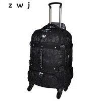 Большой емкости камуфляж Роллинг багажа дорожная вещевой мешок тележка рюкзак