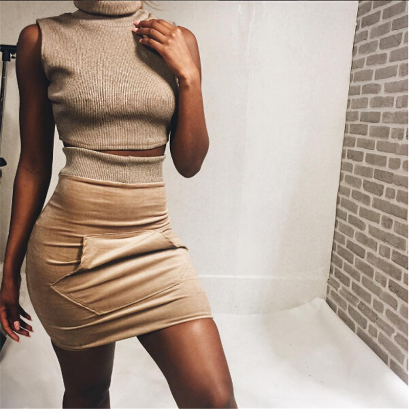 b7ea01d5f903 Fashion 2016 Autumn Bodycon Sweater Dress Sleeveless Turtleneck Crop Top  And Dress Khaki Vintage Women Mini Dresses With Pockets-in Dresses from  Women's ...