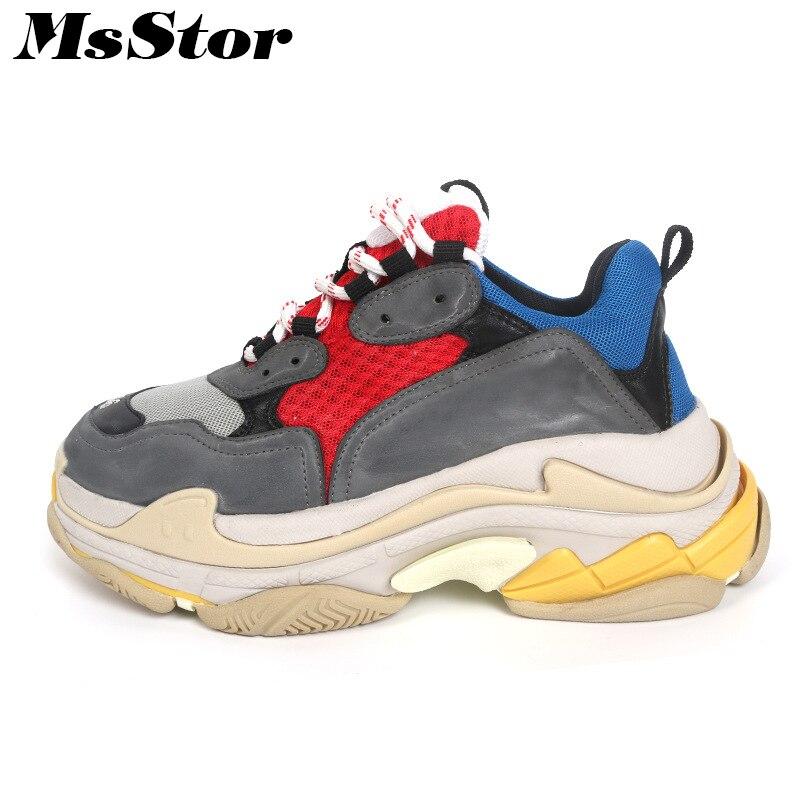 MsStor Mesh Respirant Appartements Sneakers Chaussures Femme Fond Épais Casual Marque De Mode Femmes Chaussures Sneakers Lovers Chaussures Plates Femmes