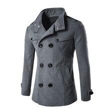 Осенне-зимнее мужское шерстяное пальто приталенные куртки верхняя одежда с двухрядными пуговицами и воротником теплая мужская повседневная куртка пальто Мужская куртка