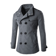 Autumn Winter Men 울 Coat Slim Fit 블루종 두 번 배 줄 Button 칼라 겉 옷 Warm Man Casual Jacket 외투 Coat Men jacket(China)