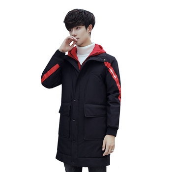 2018 Winter New Pattern Men Parkas Fashion False Two Piece Patchwork Color Hooded Slim Mid-length Cotton-padded Warm Clothes