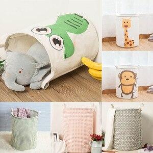 Image 4 - Práctica canastas de lavandería redonda con diseño geométrico, cesto de almacenamiento plegable, cesto para ropa de juguete, soporte plegable, organizador de rejilla gris, 1 unidad