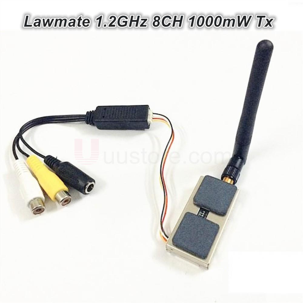 Lawmate 1.2 GHz 8ch 1000 MW Wireless AV Transmisor vtx tm-121800 para FPV CCTV Cámara