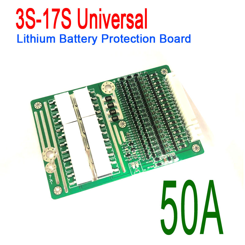 12S-17S 50A Universal 18650 Lithium Li-ion Battery BMS PCB Protection Board w/ Balance Charger 12S 13S 14S 16S