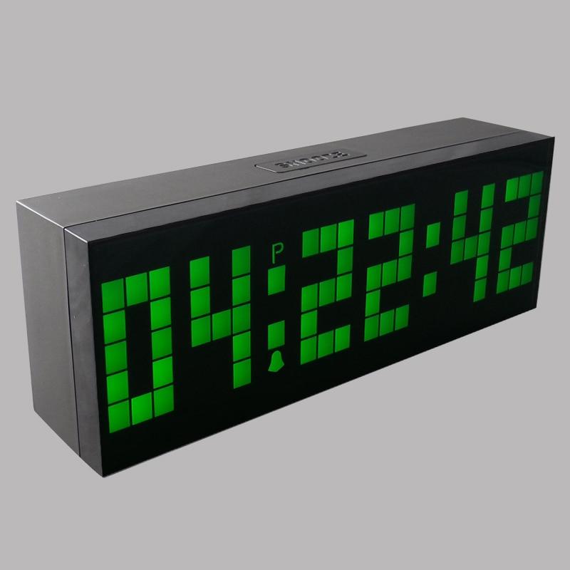 large digital desk clock led alarm clock show calendar temperature six - Designer Desk Clock