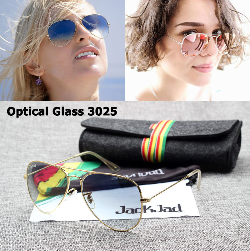Image JackJad Fashion JJ3025 Aviator Quality Optical Glass Lens Sunglasses Vintage Classic Brand Design Sun Glasses 58mm Oculos De Sol