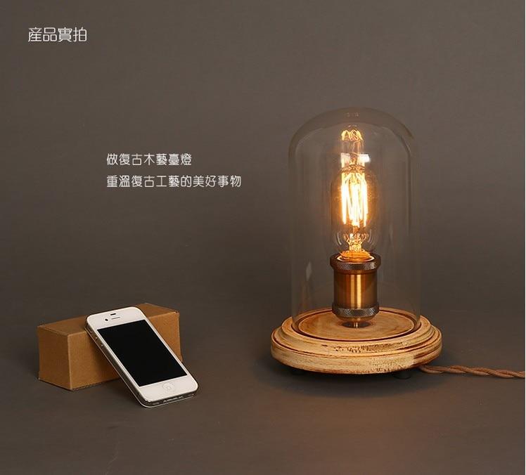 Loft Industrial vintage nature wood base table lamp simpe modern reading desk lamp for study bedroom living room workroom