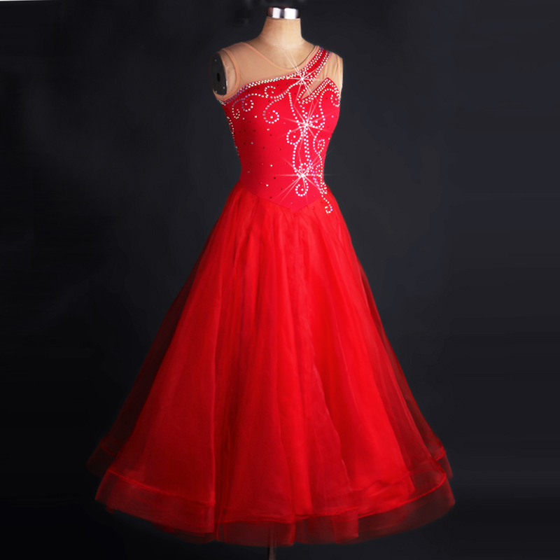 Ballroom font b Dance b font Costume Women Elegant Red Standard Competition Ballroom Dress Adult font