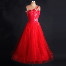 Ballroom Dance Costume Women Elegant Red Standard Competition Ballroom Dress Adult Tango Waltz Flamenco Dancing Dresses