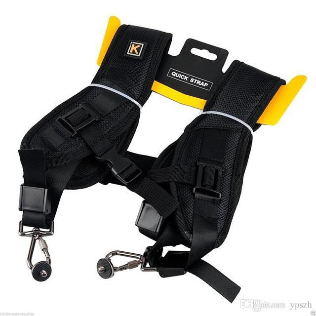 שחור חדש באיכות גבוהה מקצועי מהיר כתף זוגית מצלמה קלע חגורה רצועה עבור DSLR SLR המצלמה Canon Nikon Sony
