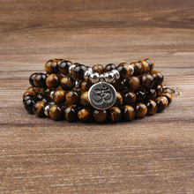 Lingxiang 8mm The 2019 tiger eye stone bracelet has 108 pendant strings that can be wound around the hand five times