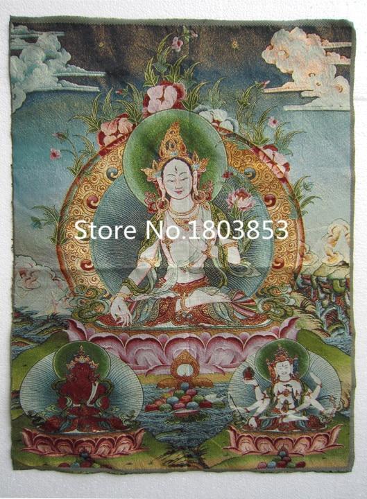 Tibet nepal silk embroidery art buddhist kuan yin tangka for Home decor nepal